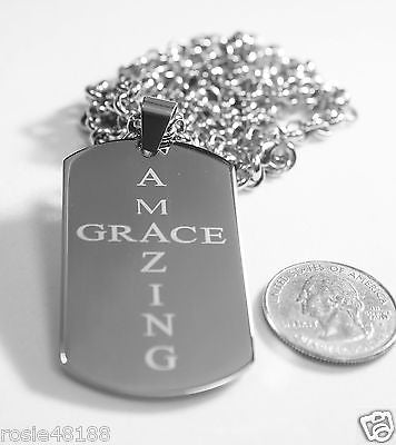 AMAZING GRACE  SOLID THICK  STAINLESS STEEL ROLO CHAIN SHINE CROSS PRAYER NECKLACE