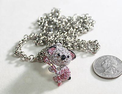 "PINK CZ ICED KOALA BEAR ON 30"" 6MM STAINLESS ROLO NECKLACE PENDANT MOM GRANDMA"