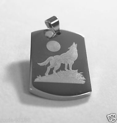 WOLF HOWLING AT THE MOON SOLID STAINLESS STEEL DOG TAG NECKLACE PENDANT - Samstagsandmore