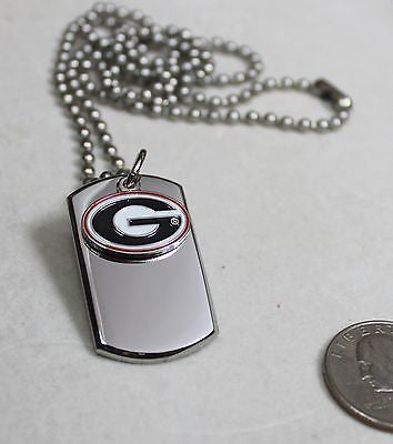 GEORGIA BULLDOGS NECKLACE STAINLESS   DOG TAG SEC FREE ENGRAVING SEND IN MSG