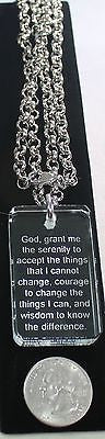SERENITY PRAYER CRYSTAL DOG TAG NECKLACE STAINLESS STEEL ROLO NECKLACE - Samstagsandmore