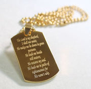 PSALM 23 IPG GOLD THICK  NECKLACE  DOG TAG STAINLESS STEEL BALL CHAIN - Samstagsandmore