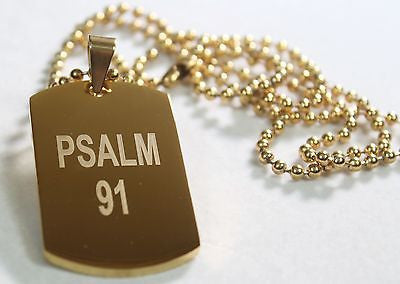 PSALM 91 SOLID THICK STAINLESS STEEL IPG GOLD PLATED DOG TAG BALL CHAIN 30""