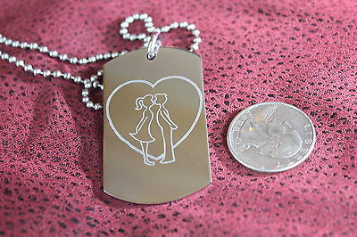 VALENTINES DAY LOVE BOY KISS GIRL DOG TAG NECKLACE STAINLESS STEEL