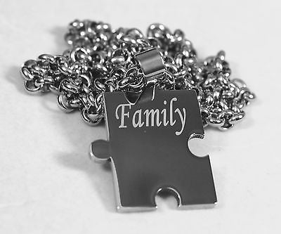 FAMILY PUZZLE PIECE X 4 TAGS ,NAMES, SOLID STAINLESS STEEL ROLO  CHAIN NECKLACE