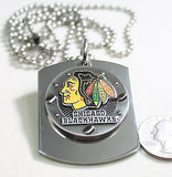 NHL CHICAGO BLACK HAWKS  X LARGE  DOG TAG STAINLESS STEEL NECKLACE LOGO