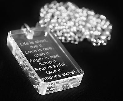 MOTIVATIONAL SAND BLASTED THICK CRYSTAL DOG TAG AND STAINLESS STEEL NECKLACE - Samstagsandmore