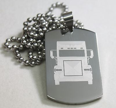 TRUCK DRIVER PRAYER SOLID THICK STAINLESS STEEL NECKLACE PENDANT DOG TAG