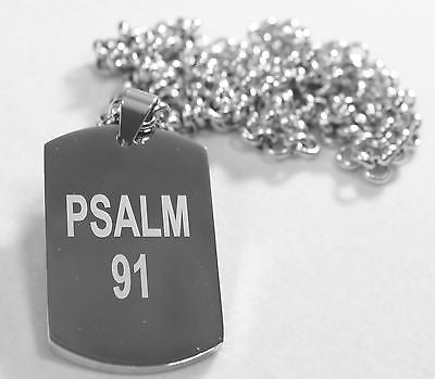"PSALM 91 SOLID THICK MIRROR  STAINLESS STEEL DOG TAG STAINLESS ROLO CHAIN 30"" - Samstagsandmore"