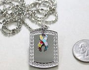 Autism bling CZ necklace pendant stainless steel dog tag pendant - Samstagsandmore