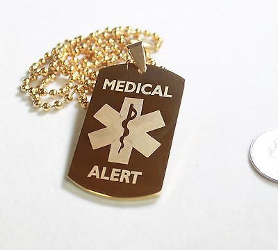 MEDICAL ALERT STAINLESS STEEL STYLE IPG DOG TAGS FREE ENGRAVING - Samstagsandmore