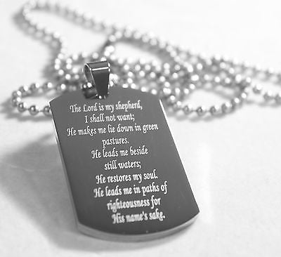 PSALM 23  THICK  NECKLACE  DOG TAG STAINLESS STEEL BALL CHAIN PRAYER MEMORIAL - Samstagsandmore