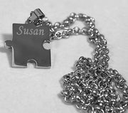 Autism awareness thick puzzle piece solid stainless steel dog tag necklace - Samstagsandmore