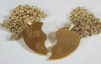 SOLID STAINLESS IPG GOLD PLATED THICK MOM DAUGHTER SPLIT HEART NECKLACES - Samstagsandmore