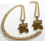 PUZZLE PIECE X2 IPG THICK GOLD PLATED SOLID STAINLESS STEEL ROLO CHAIN NECKLACE