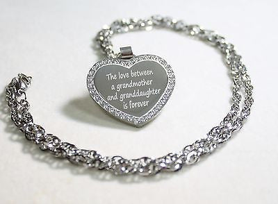 CZ STAINLESS STEEL HEART NAMES, GRANDMOTHER, GRANDAUGHTER FREE ENGRAVE