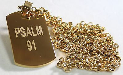 PSALM 91 THICK GOLD IPG PLATED OVER SOLID STAINLESS STEEL ROLO STAINLESS CHAIN