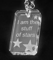 MOTIVATIONAL STAR SAND BLASTED THICK CRYSTAL DOG TAG & STAINLESS STEEL NECKLACE - Samstagsandmore