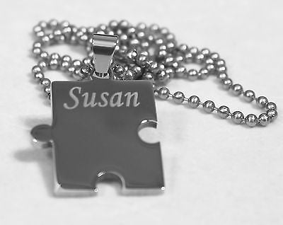 Autism awareness thick puzzle piece solid stainless steel ball chain necklace