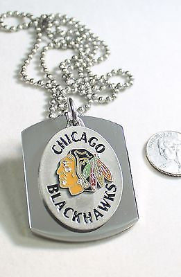 CHICAGO BLACK HAWKS NHL  PENDANT X LARGE  DOG TAG STAINLESS STEEL NECKLACE LOGO