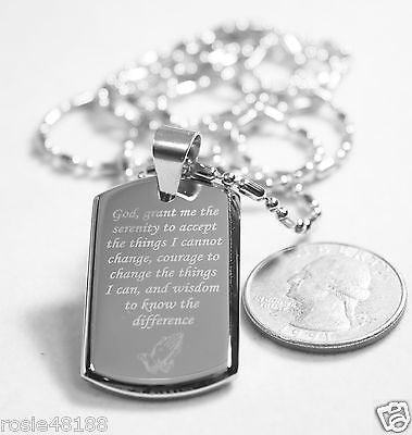 SERENITY  PRAYER  CROSS STAINLESS STE 3D SMALLER SAUSAGE CHAIN DOG TAG NECKLACE - Samstagsandmore