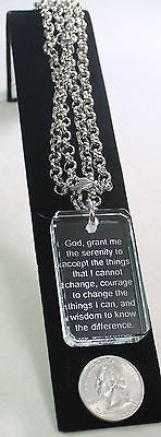 SERENITY PRAYER CRYSTAL DOG TAG NECKLACE STAINLESS STEEL ROLO NECKLACE