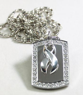 OVARIAN CANCER SILVER RIBBON BLING ICED OUT NECKLACE PENDANT CZ STAINLESS  TAG