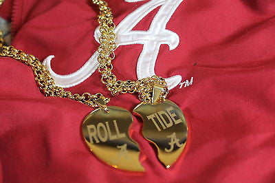 SOLID STAINLESS IPG GOLD PLATED SPLIT HEART NECKLACES ALABAMA CRIMSON ROLL TIDE