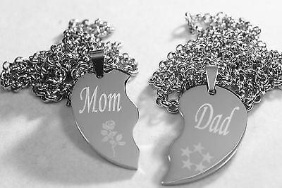 SOLID STAINLESS STEEL MOM DAD SPLIT HEART NECKLACES LOVE FREE ENGRAVING