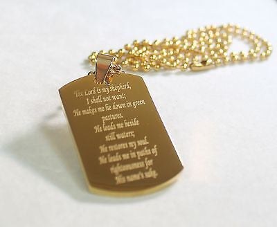 PSALM 23 IPG GOLD THICK  NECKLACE  DOG TAG STAINLESS STEEL BALL CHAIN