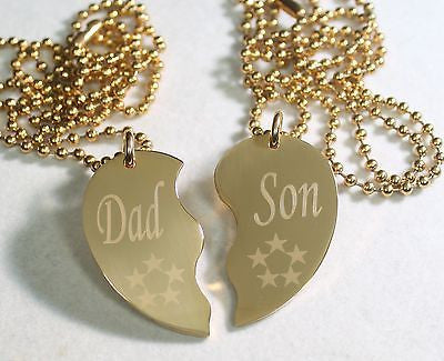 GOLD TONE IPG PERSONALIZED SPLIT HEART DAD SON NECKLACE SET STAINLESS STEEL - Samstagsandmore