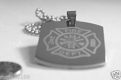 FIRE FIGHTER MALTESE CROSS X LARGE THICK STAINLESS STEEL DOG TAG NECKLACE - Samstagsandmore