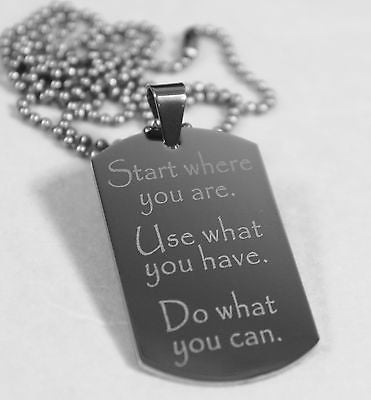 MOTIVATIONAL INSPIRATIONAL CAN DO STAINLESS STEEL  DOG TAG NECKLACE