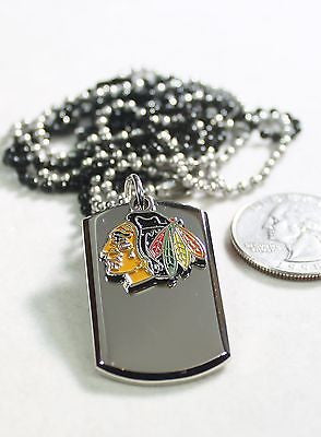 STAINLESS STEEL NHL CHICAGO BLACKHAWKS NECKLACE DOGTAG PENDANT ENGRAVE