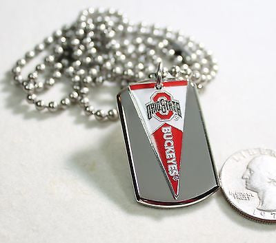 OHIO STATE BUCKEYES PENNANT STAINLESS STEEL DOG TAG NECKLACE  3D BALL CHAIN
