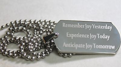 JOY TODAY POSITIVE THOUGHTS MOTIVATIONAL SOLID STAINLESS STEEL TAG NECKLACE