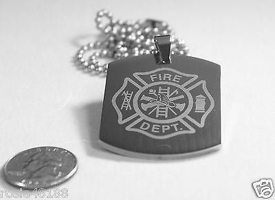 FIRE FIGHTER MALTESE CROSS X LARGE THICK STAINLESS STEEL DOG TAG NECKLACE