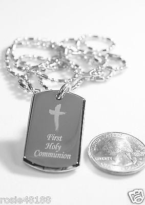 HOLY FIRST COMMUNION CHILD DOG TAG NECKLACE BEVELED STAINLESS STEEL - Samstagsandmore
