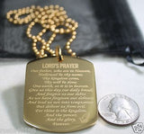 THE LORD'S PRAYER IPG GOLD X LARGE THICK SOLID STAINLESS STEEL DOG TAG NECKLACE