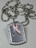 BREAST CANCER SURVIVOR BLING ICED OUT NECKLACE PENDANT CZ STAINLESS DOG TAG
