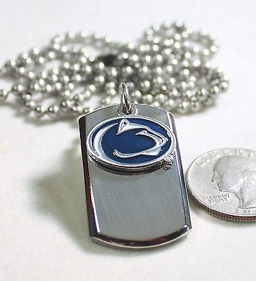 PENN STATE LOGO STAINLESS STEEL DOG TAG NECKLACE  3D BALL CHAIN - Samstagsandmore