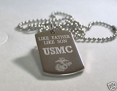 LIKE FATHER LIKE SON MARINE CORE MILITARY THICK STAINLESS STEEL DOG TAG NECKLACE