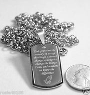 SERENITY  PRAYER  CROSS 3D SMALLER STAINLESS STEEL HIGH SHINE DOG TAG NECKLACE - Samstagsandmore