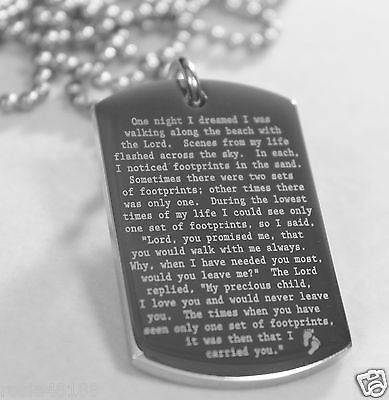 FOOTPRINTS IN THE SAND PRAYER SOLID THICK STAINLESS STEEL SHINE  PRAYER - Samstagsandmore