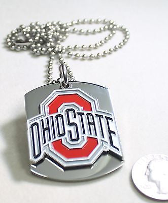 OHIO STATE LOGO BUCKEYES  PENDANT X LARGE  DOG TAG STAINLESS STEEL NECKLACE LOGO