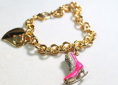 FIGURE SKATE HOT PINK CHARM GOLD TONE BRACELET DOUBLE HEART CHARM