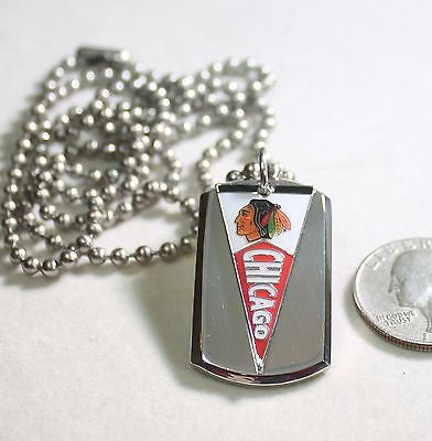 Chicago Blackhawks NHL pennant stainless steel dog tag necklace 3D ball chain - Samstagsandmore