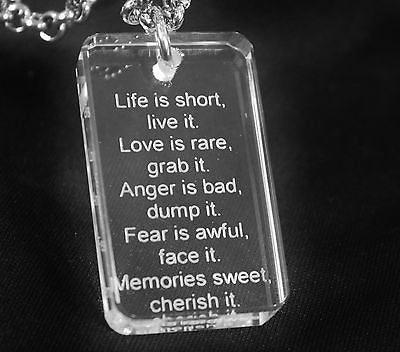 MOTIVATIONAL SAND BLASTED THICK CRYSTAL DOG TAG AND STAINLESS STEEL NECKLACE