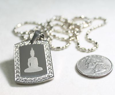 Buddha dog tag CZ stainless steel necklace pendant - Samstagsandmore