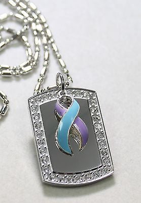 RHEUMATOID ARTHRITIS RIBBON BLING ICED OUT NECKLACE PENDANT CZ STAINLESS  TAG